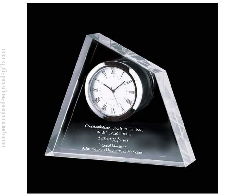 Engraved Crystal Summit Clock Jobe