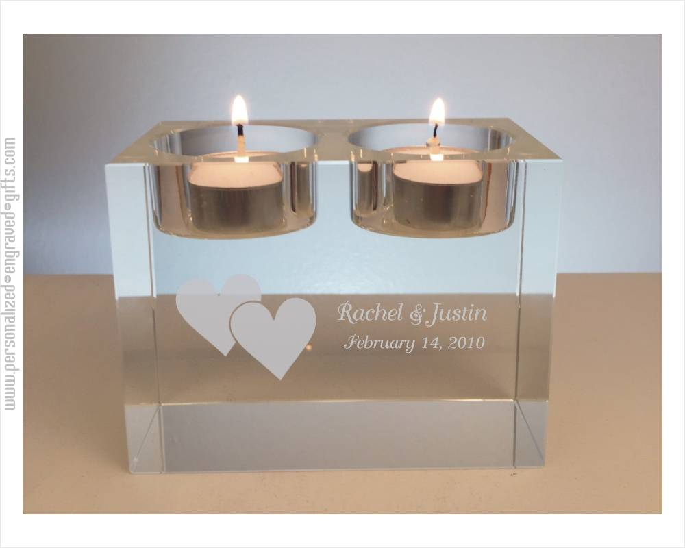 Personalized Crystal Tea Lights Candle Holders
