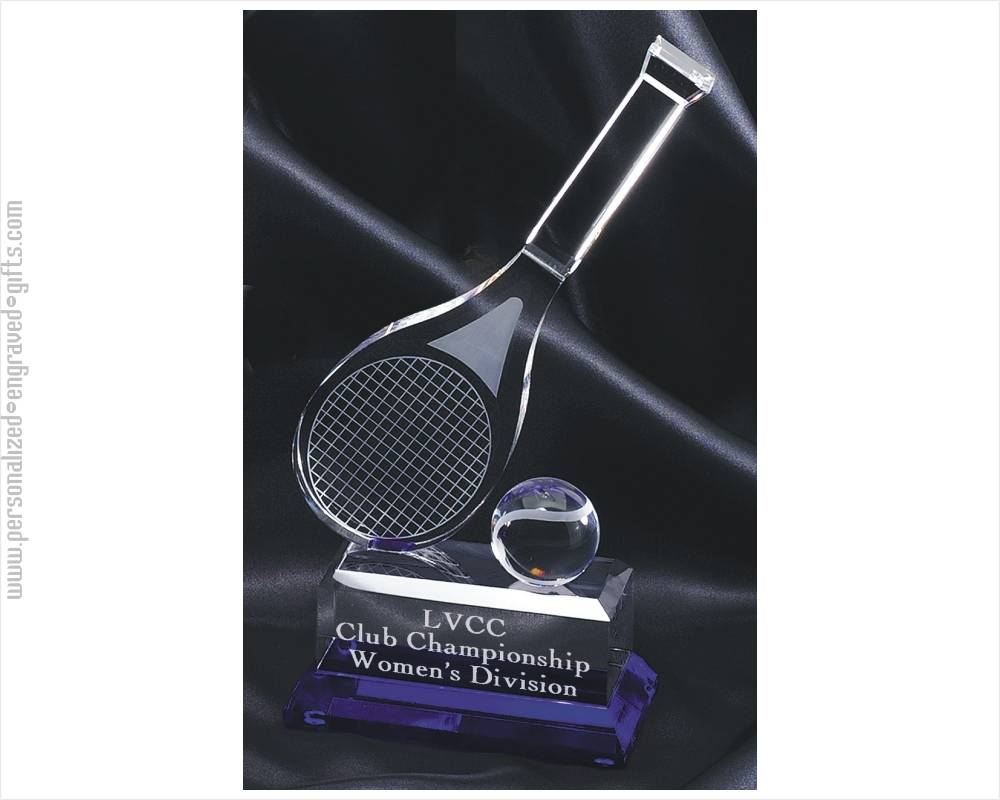 Engraved Crystal Tennis Racket Award