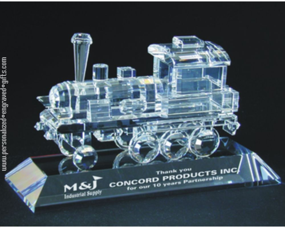 Engraved Crystal Train Award - Great Gift for Train Lovers
