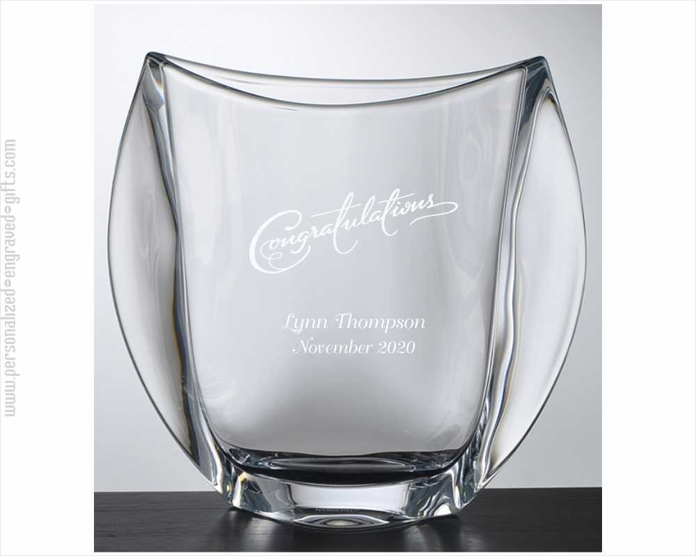 Personalized Wide Arched Crystal Vase the Norwich