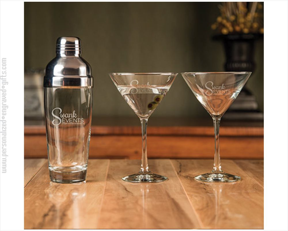 Glass Martini Shaker with 2 Glasses Custom Engraved
