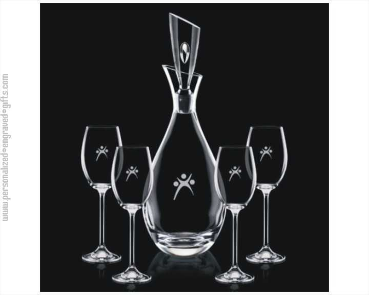 Elegant Crystal Romeo Decanter Gift Set with 4 Wine Glasses