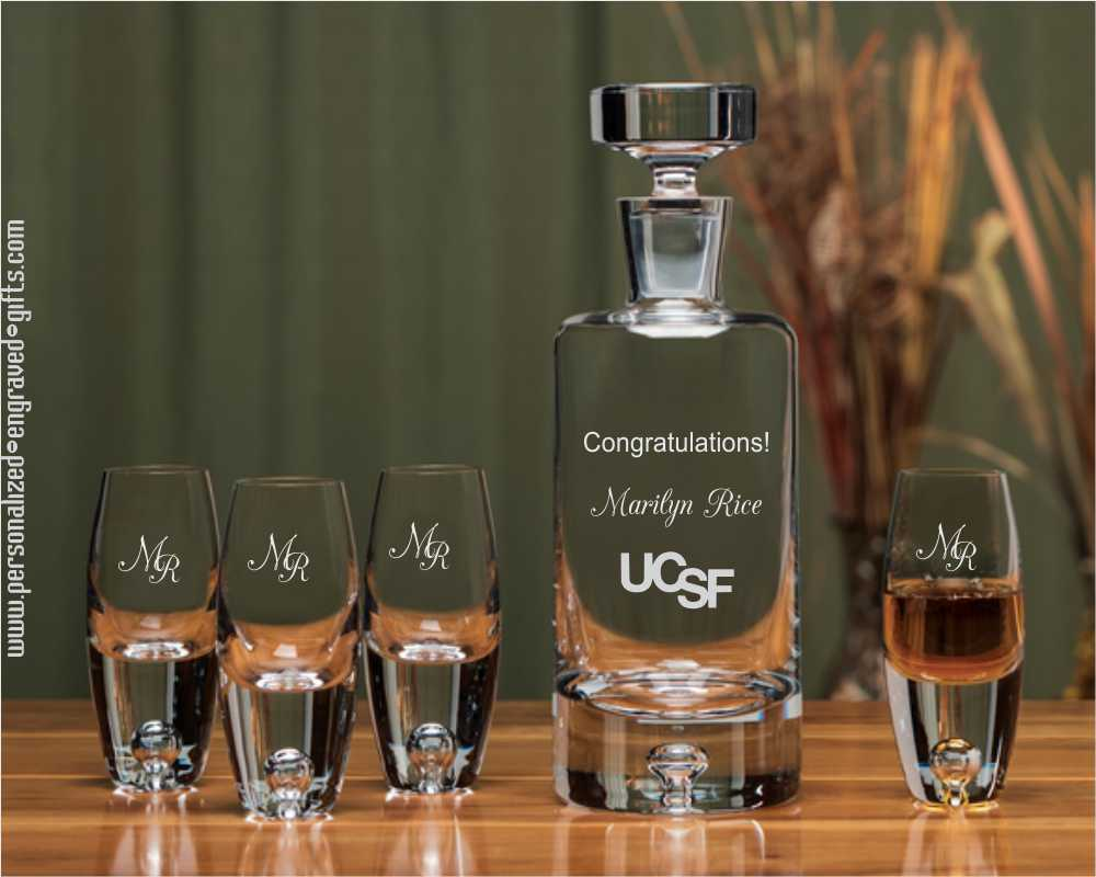 Engraved Decanter Set with Cylinder Decanter and 4 Taster Glasses-Sendai