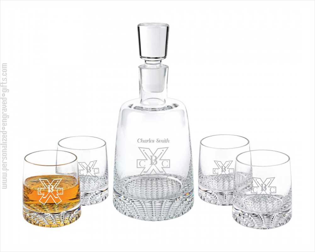 Personalized Crystal Decanter and 4 Glasses Gift Set Vanderbilt