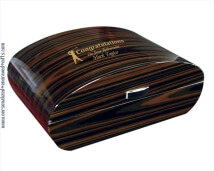 Engraved Deco Styled Humidor with Arc Shaped Lid - Stylish Gift for Cigar Smokers