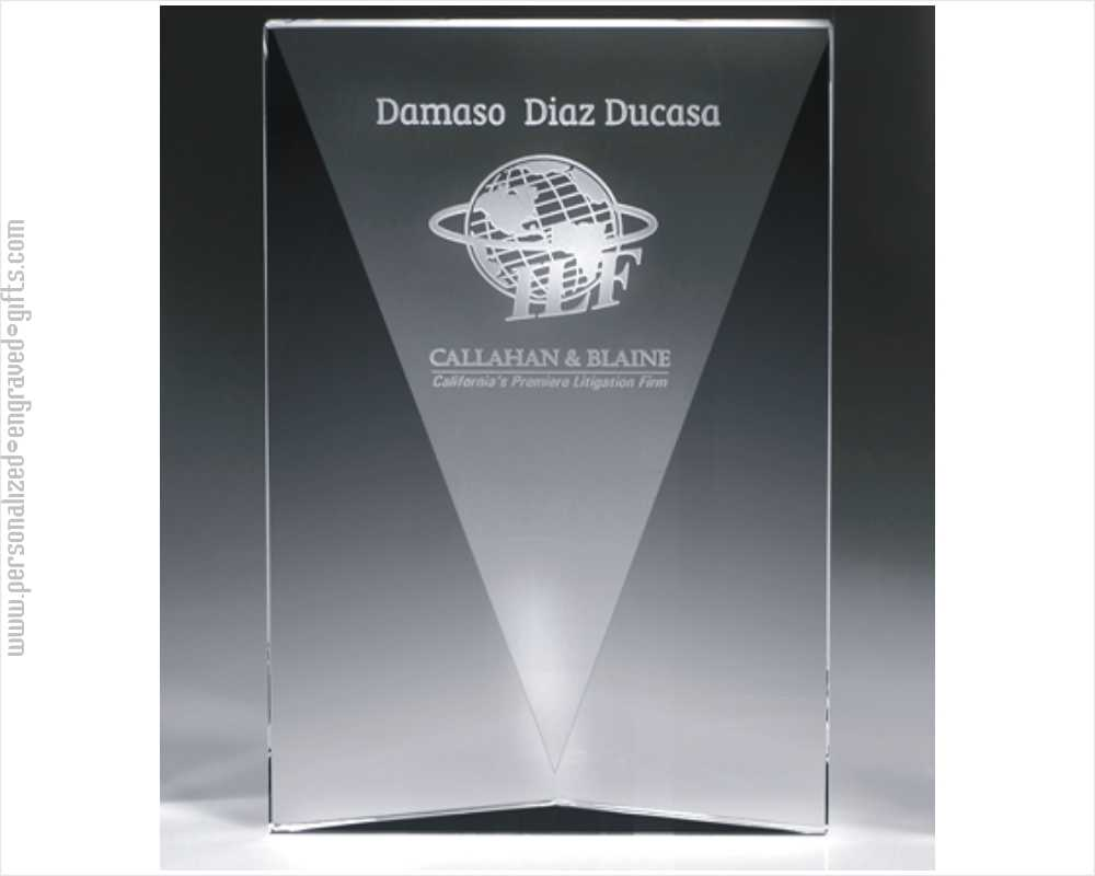 Engraved Deep V Crystal Recognition Plaque