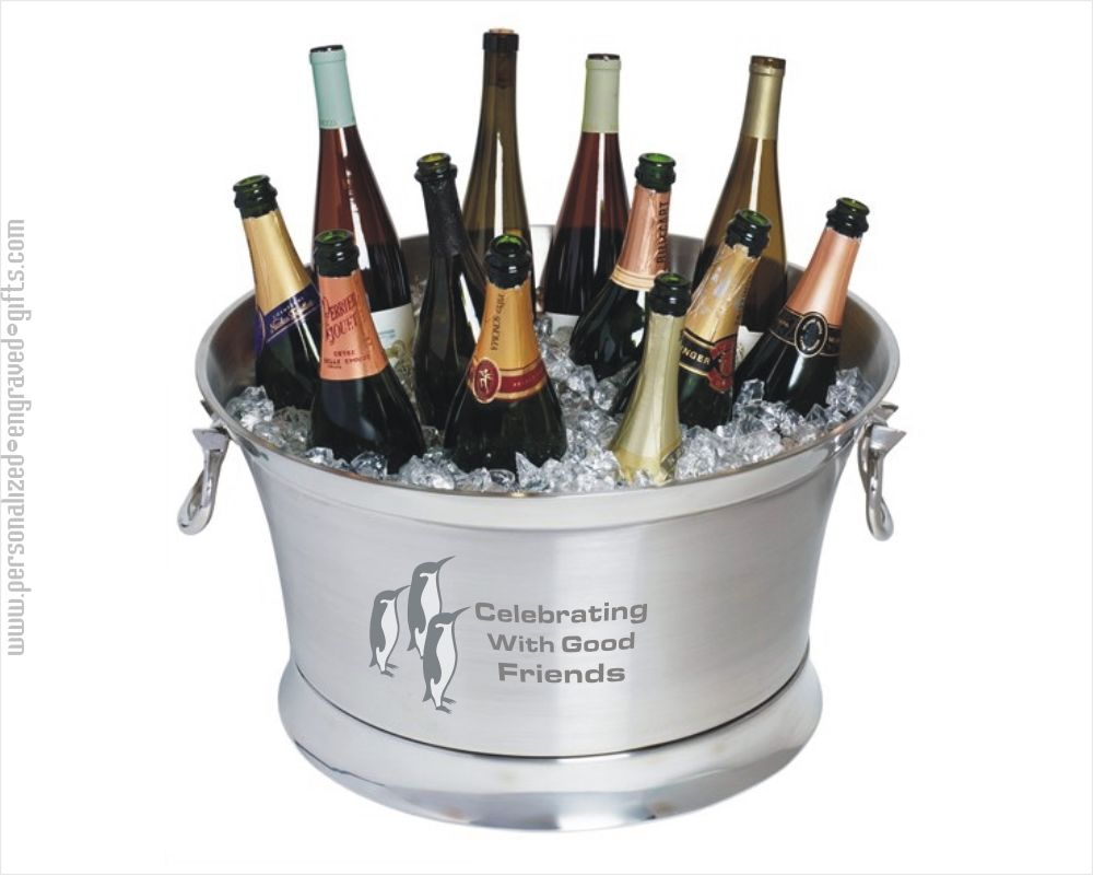 Large Stainless Steel 12 Wine Bottle Cooler - Festive