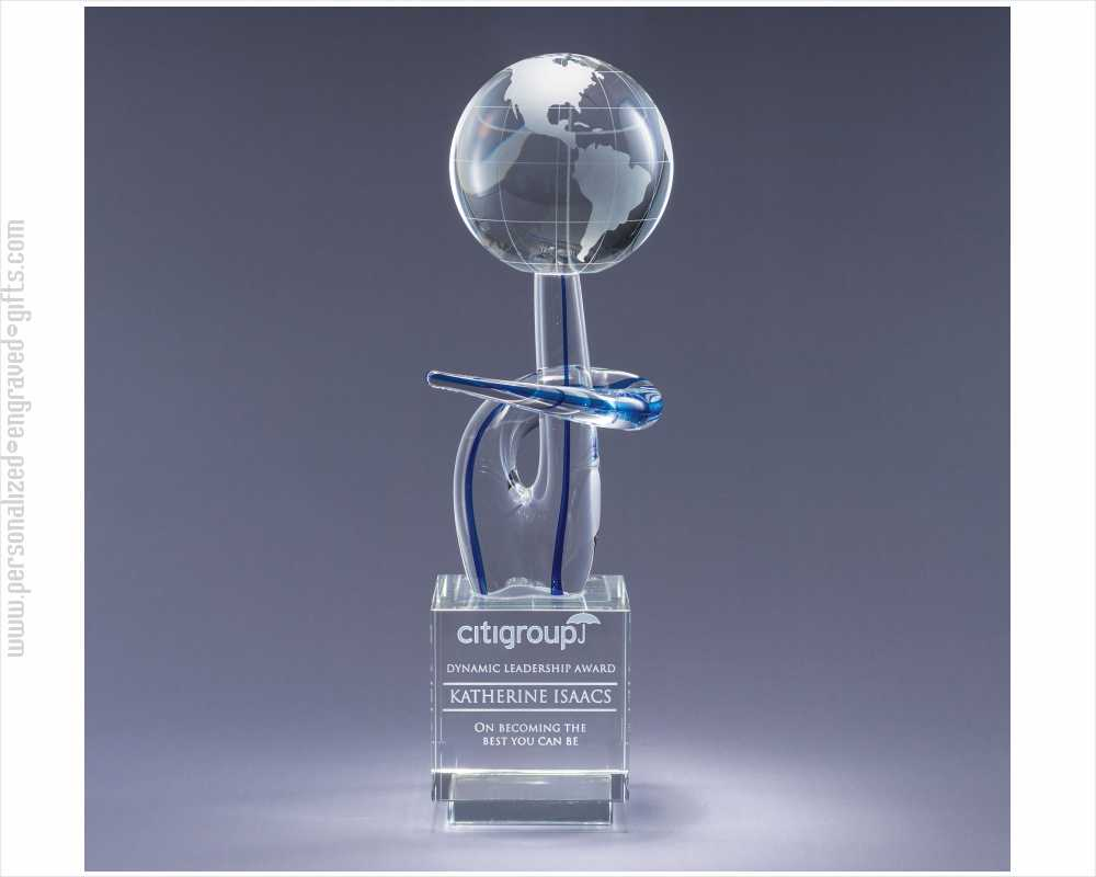 Engraved Free Form Art Glass Globe Award