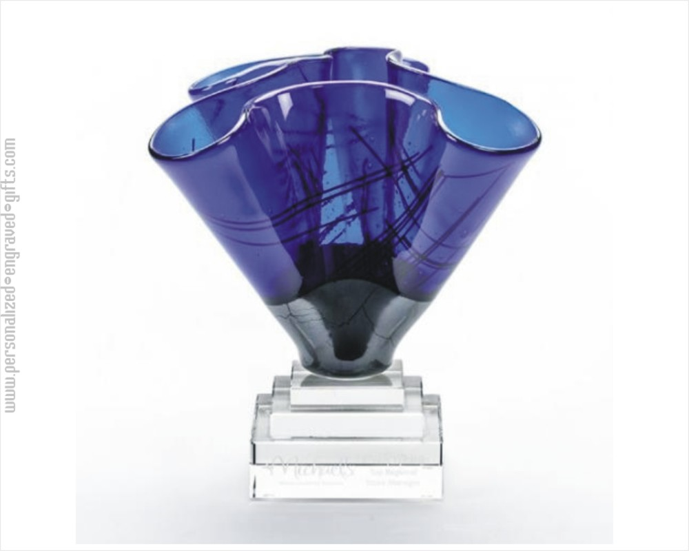 Engraved Free From Blue Art Glass Bowl Bebe