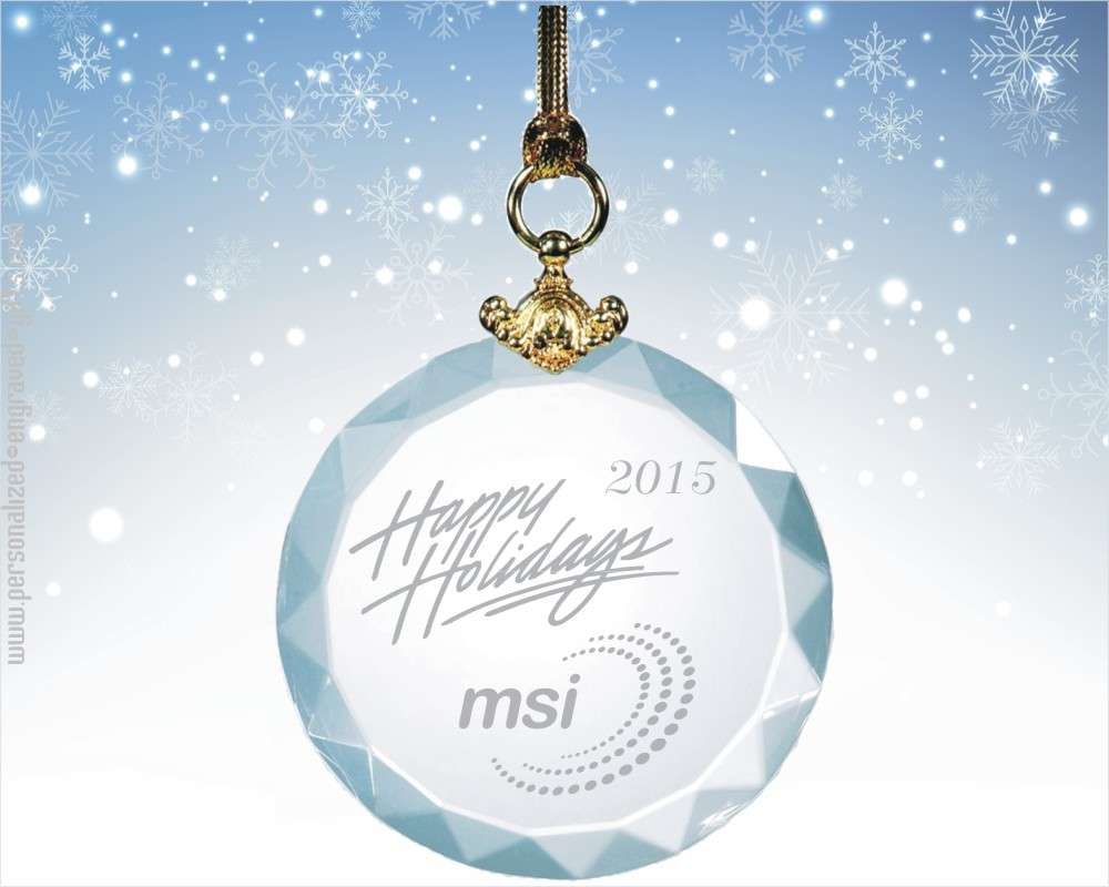 Gem-Cut Crystal Round Ornament Customized