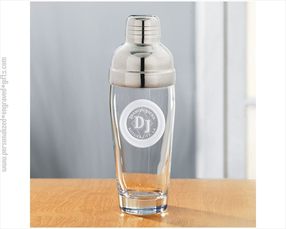 Personalized Engraved Glass Cocktail Shaker Jazz