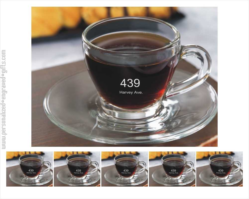 Set of Six Engraved Glass Espresso Cups Greenpoint