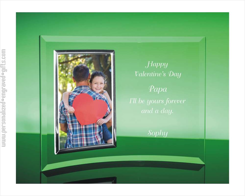 Engraved Glass Picture Frame for Valentines Day