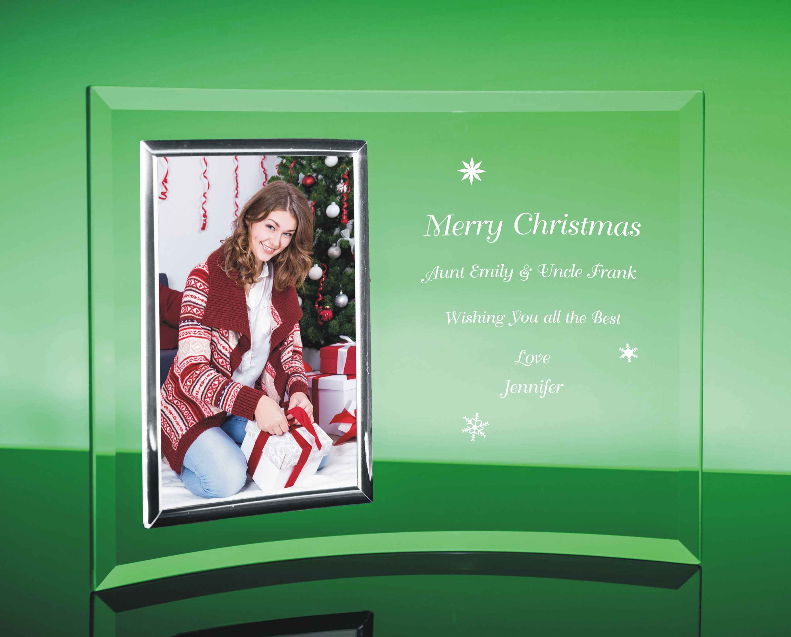 Custom Engraved Curved Glass Picture Frame for the Holidays