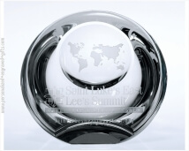 Globe Dome Engraved Crystal Paperweight