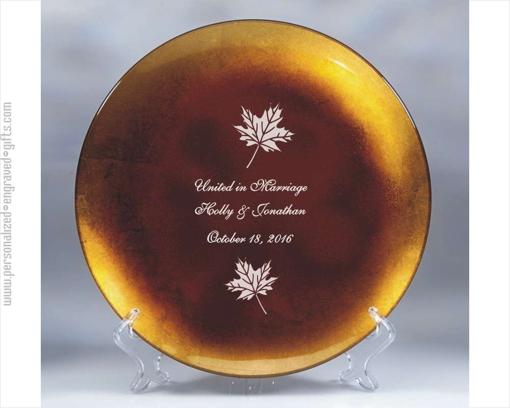 Engraved Gold Leaf Round Glass Plate