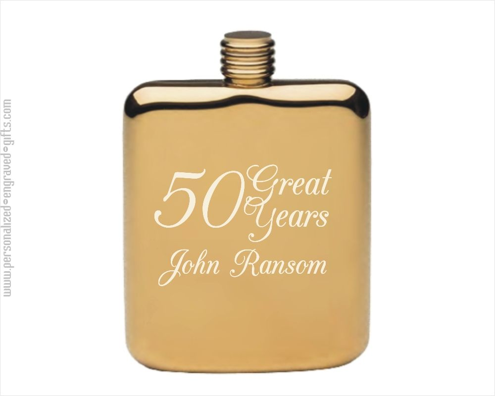 Personalized Gold Plated Pocket Flask