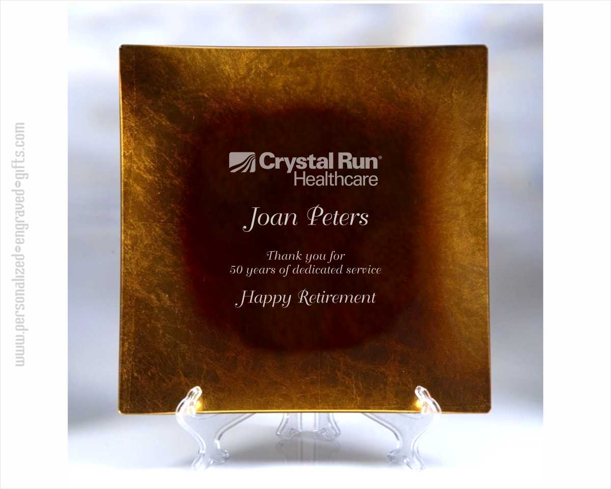 Engraved Square Gold Leaf Glass Plate