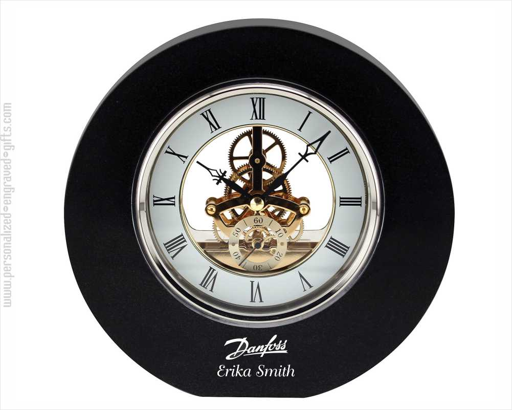 Engraved Granite Open-Gear Circular Desktop Clock