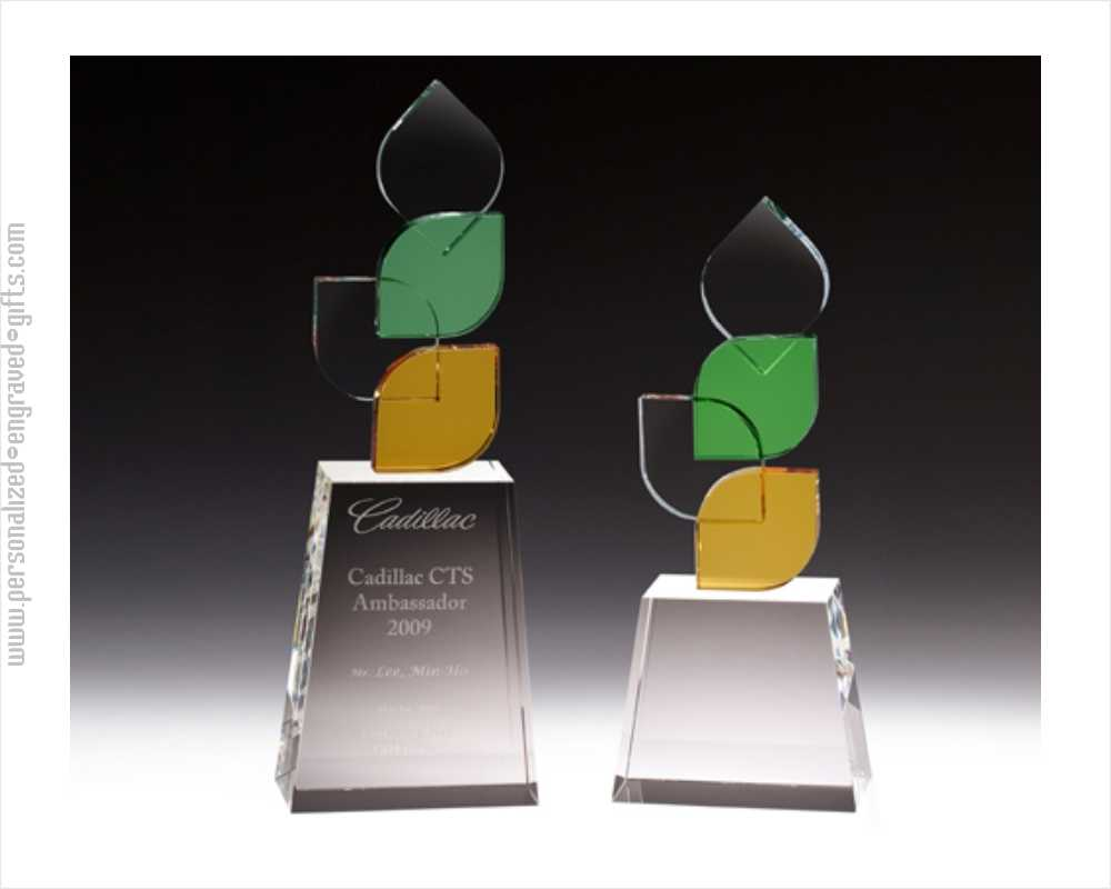 Engraved Amber Green Leaf Tower Award