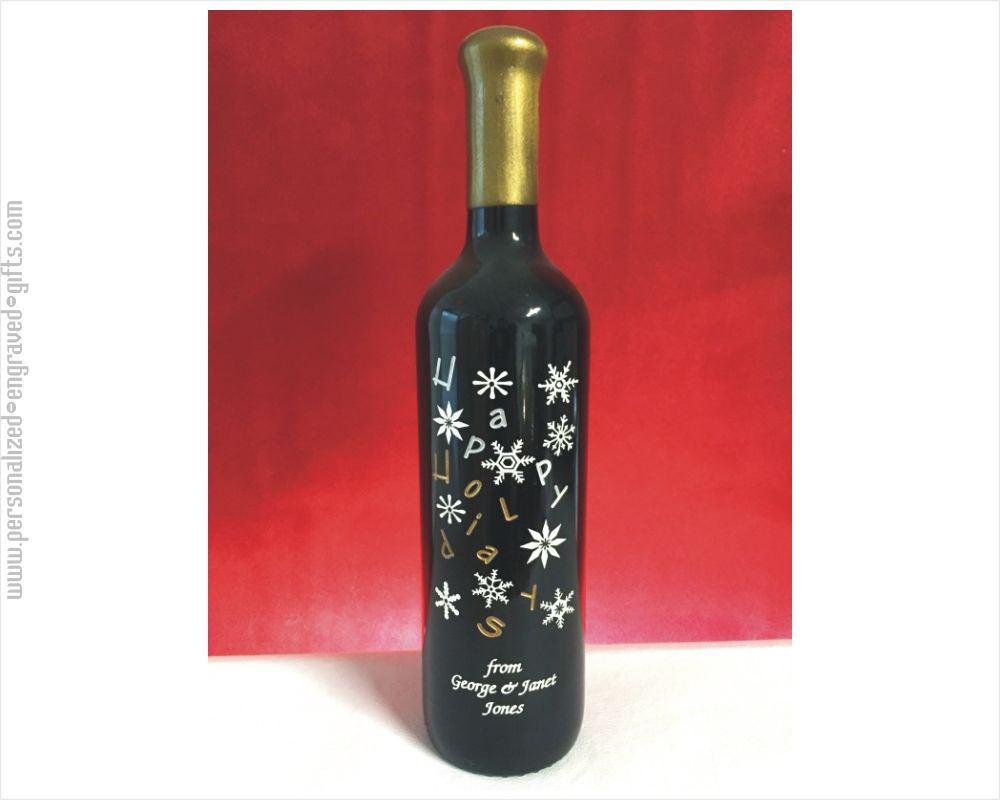 Custom Engraved Happy Holidays Wine Bottle with Snowflakes