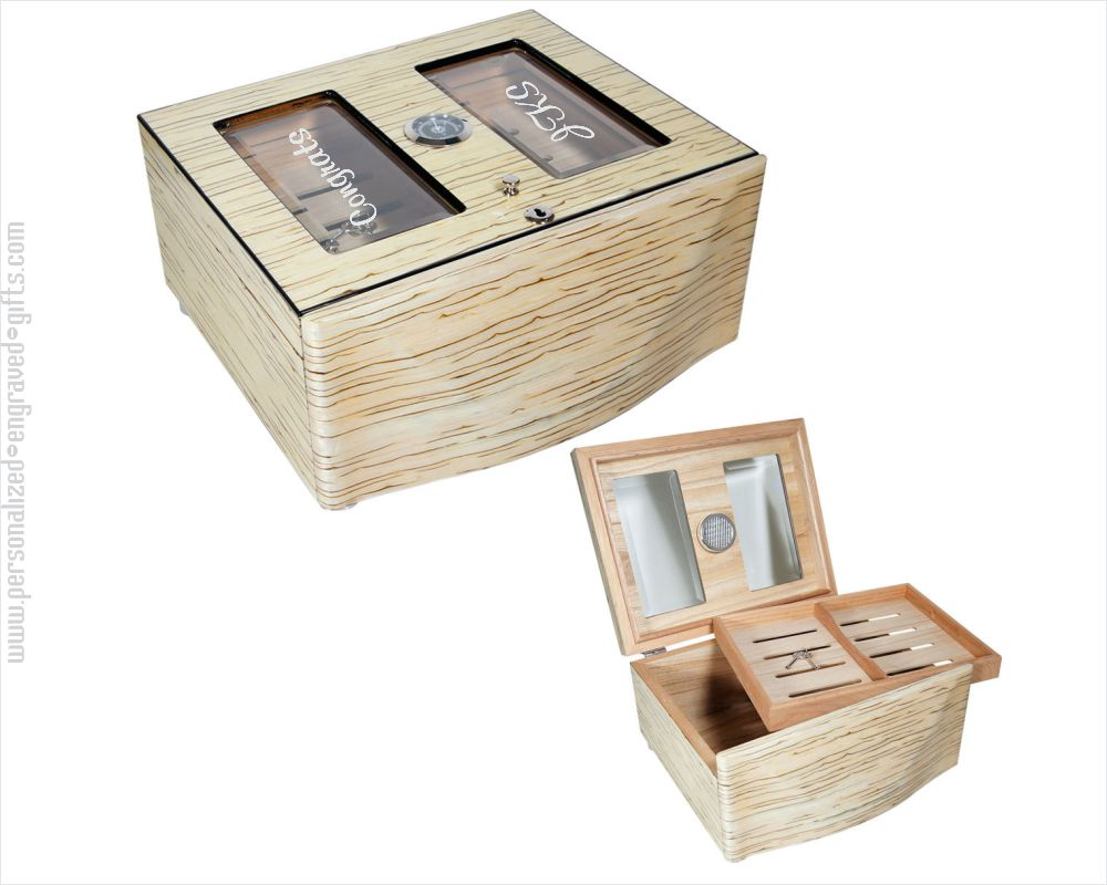 Personalized Engraved Desk Top White Humidor Dokha