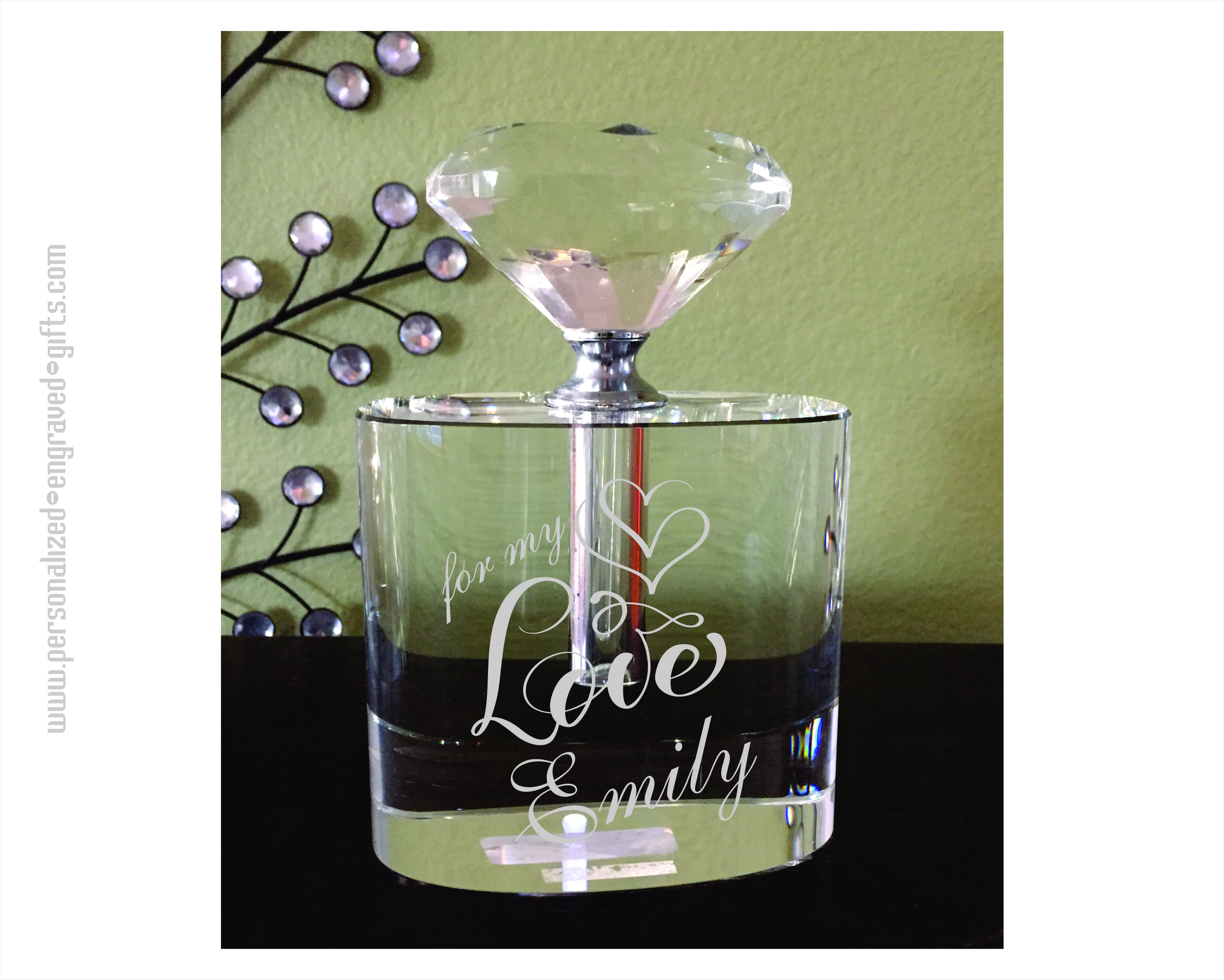 Engraved Crystal Perfume Bottle Kya