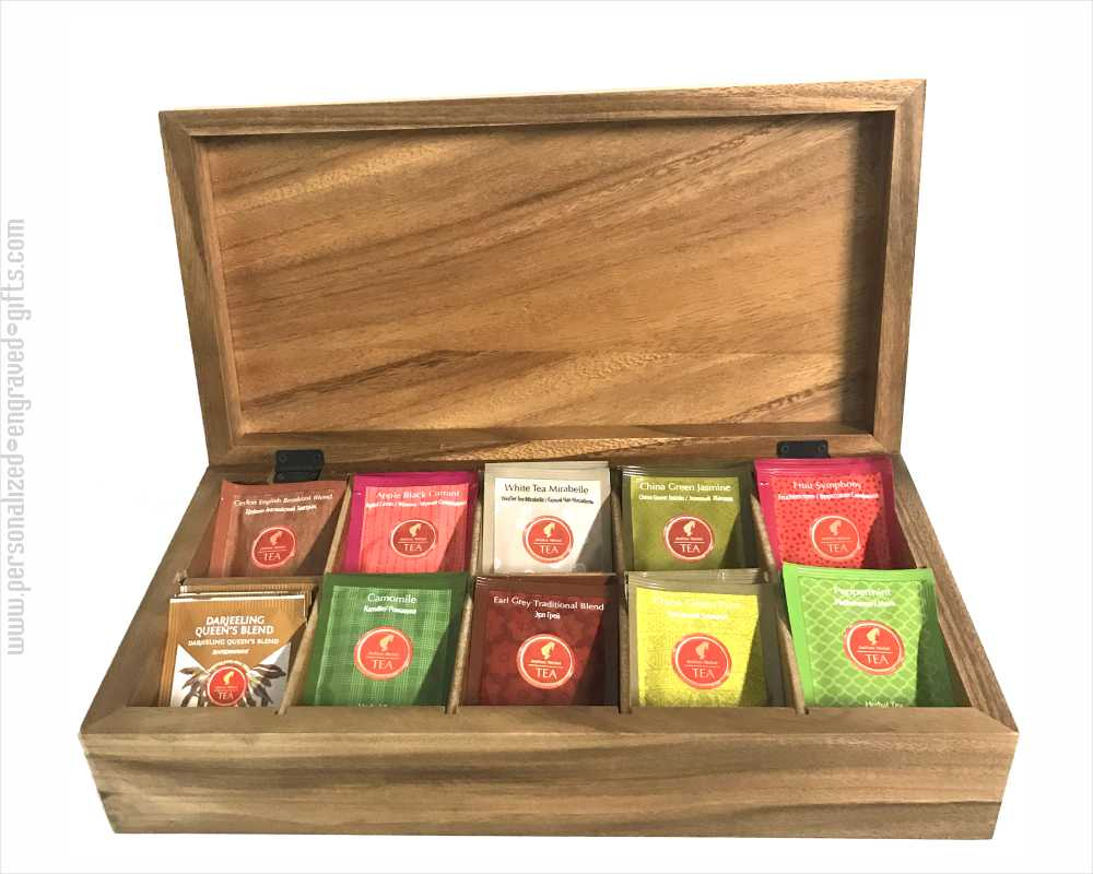 Engraved Wooden Tea Box with 10 Compartments Earl Grey