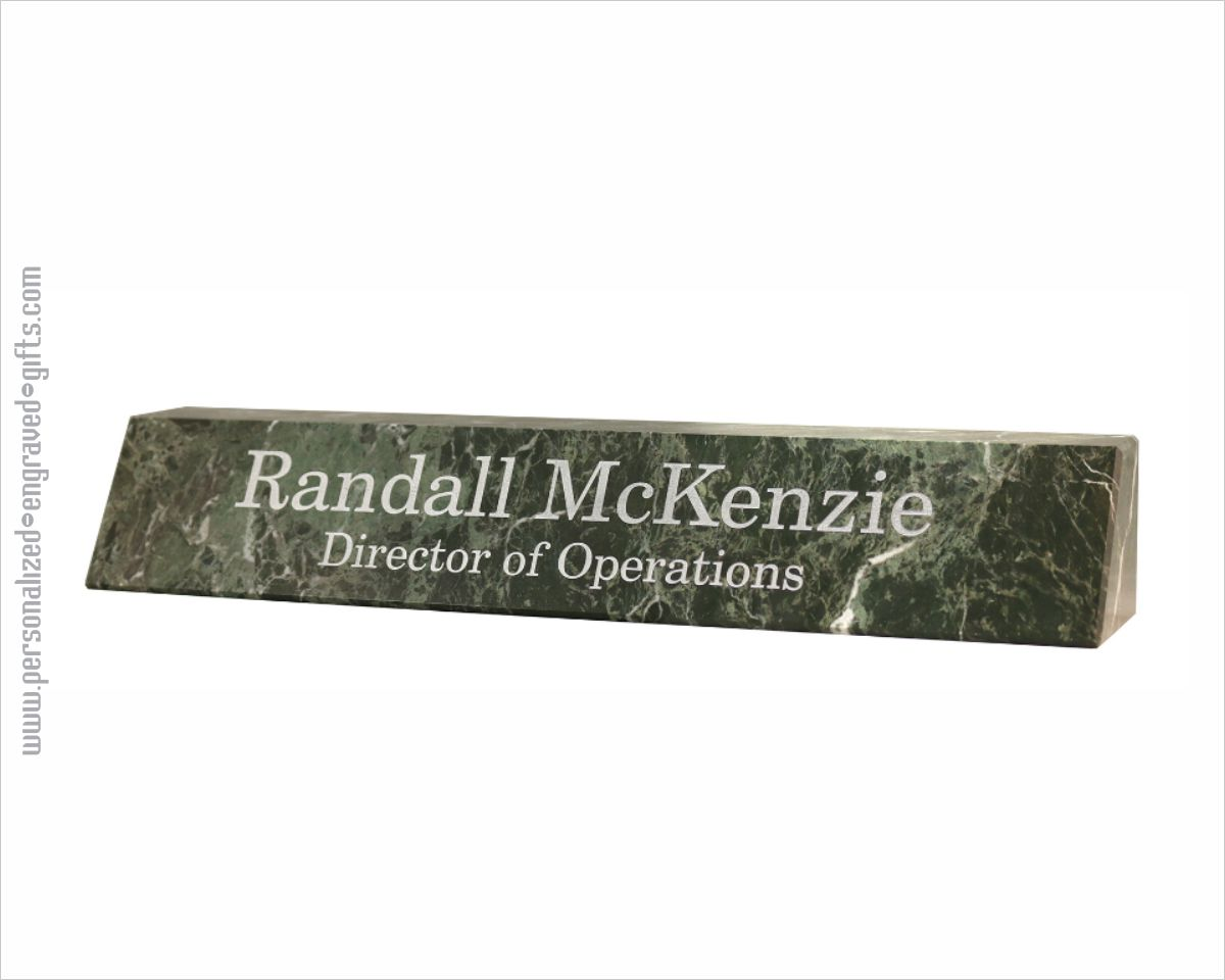 Engraved Marble Rectangular Jade Leaf Green Marble Nameplate