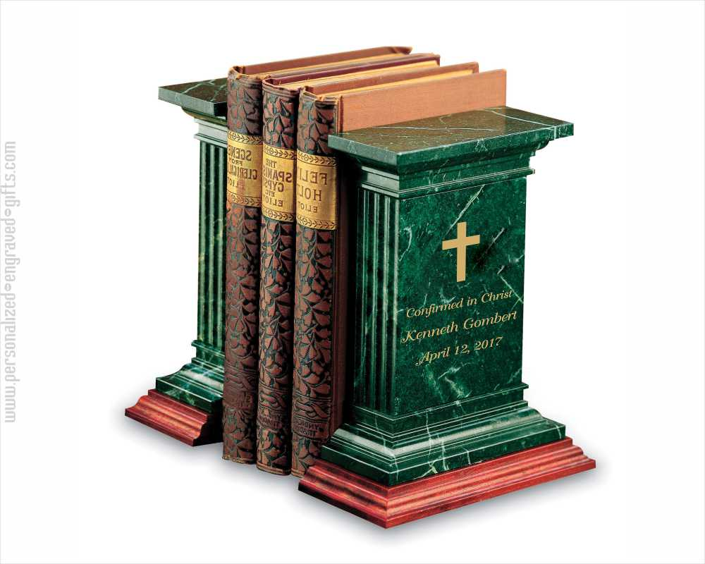 Personalized Green Marble and Wood Bookends Docent