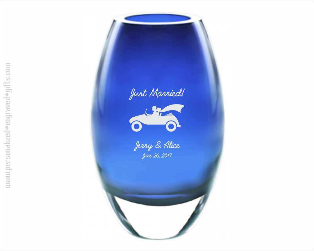 Engraved Midnight Blue Crystal 9 Inch Vase - The Kia