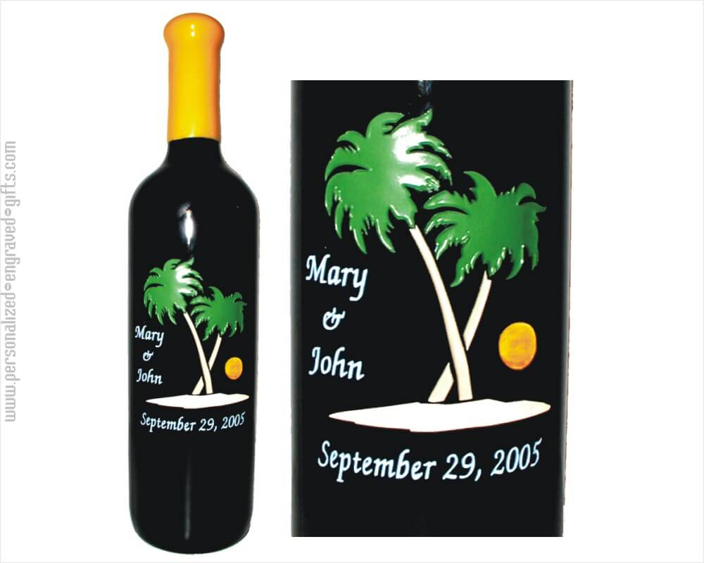 Palm Trees on Beach Engraved Wine Bottle