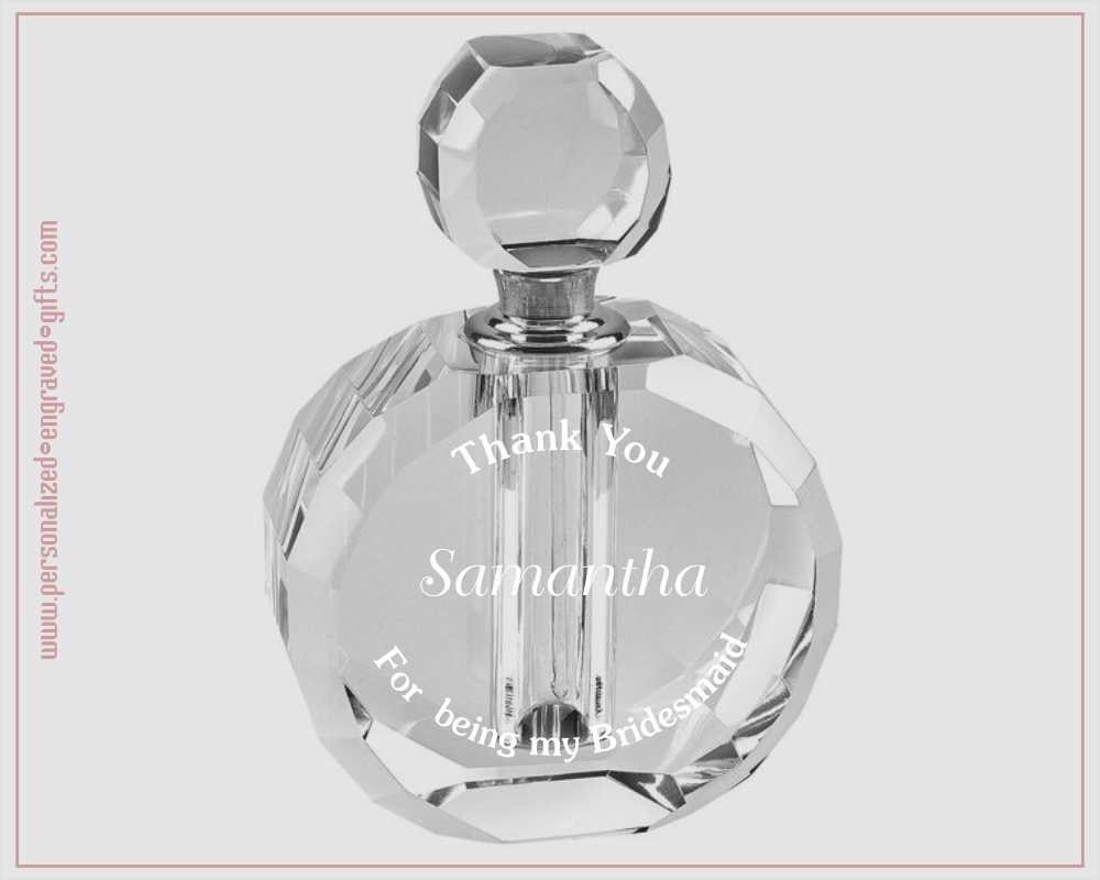 Crystal Perfume Bottle Engraved to Thank Bridesmaids