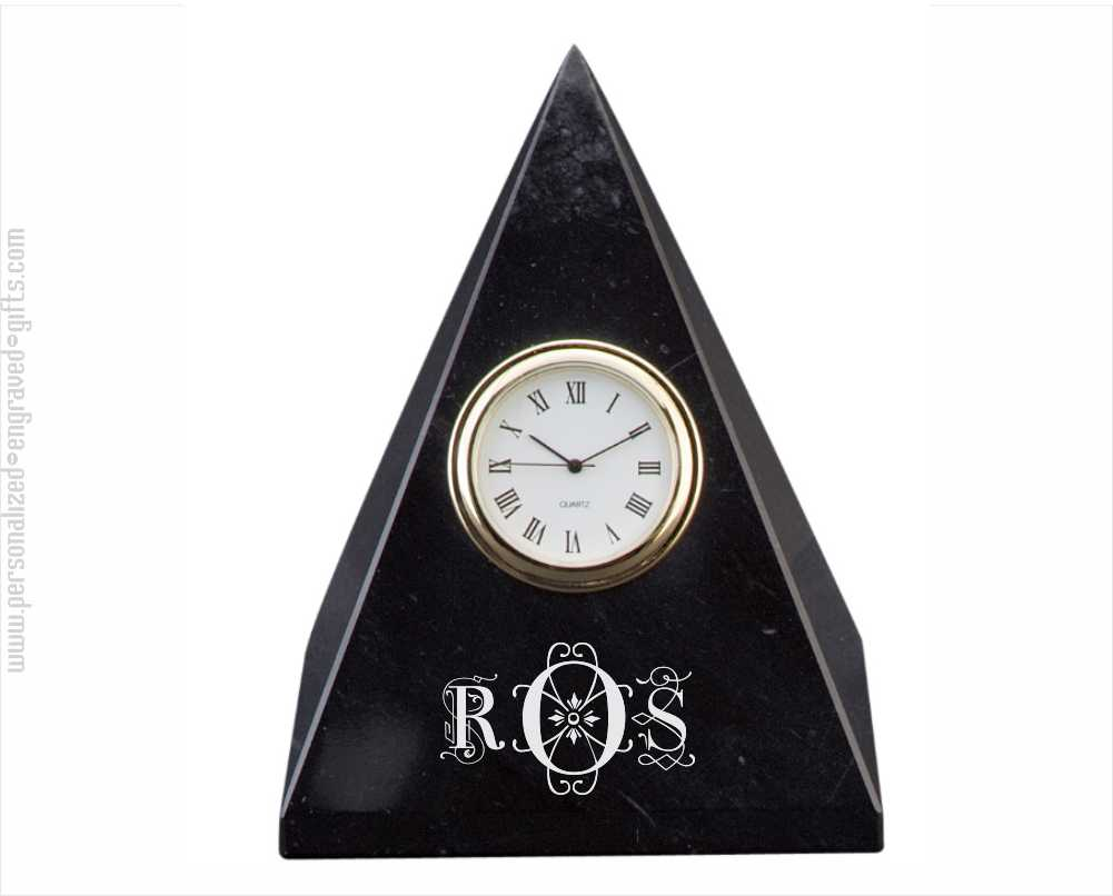 Engraved Pyramid Clock Jet Black Marble