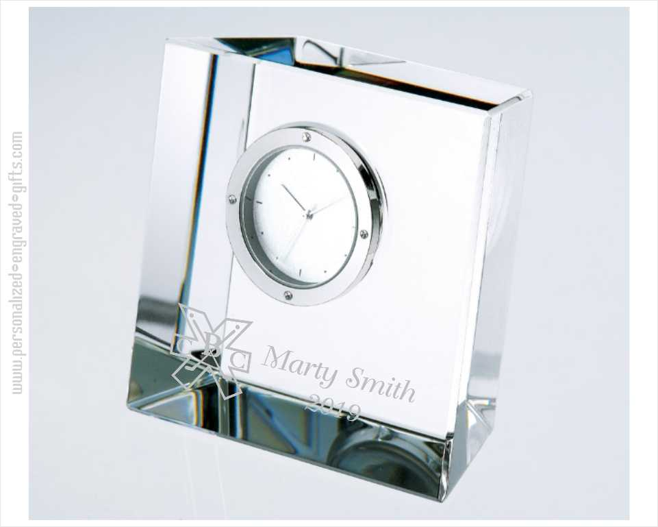 Personalized Slanted Crystal Block Clock