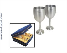 Engraved Pewter Goblet Set with Velvet Gift Box