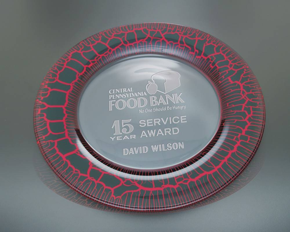 Engraved Red Leopard Presentation Plate