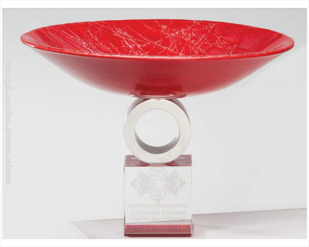 Personalized Red Art Glass Pedestal Bowl Crimson