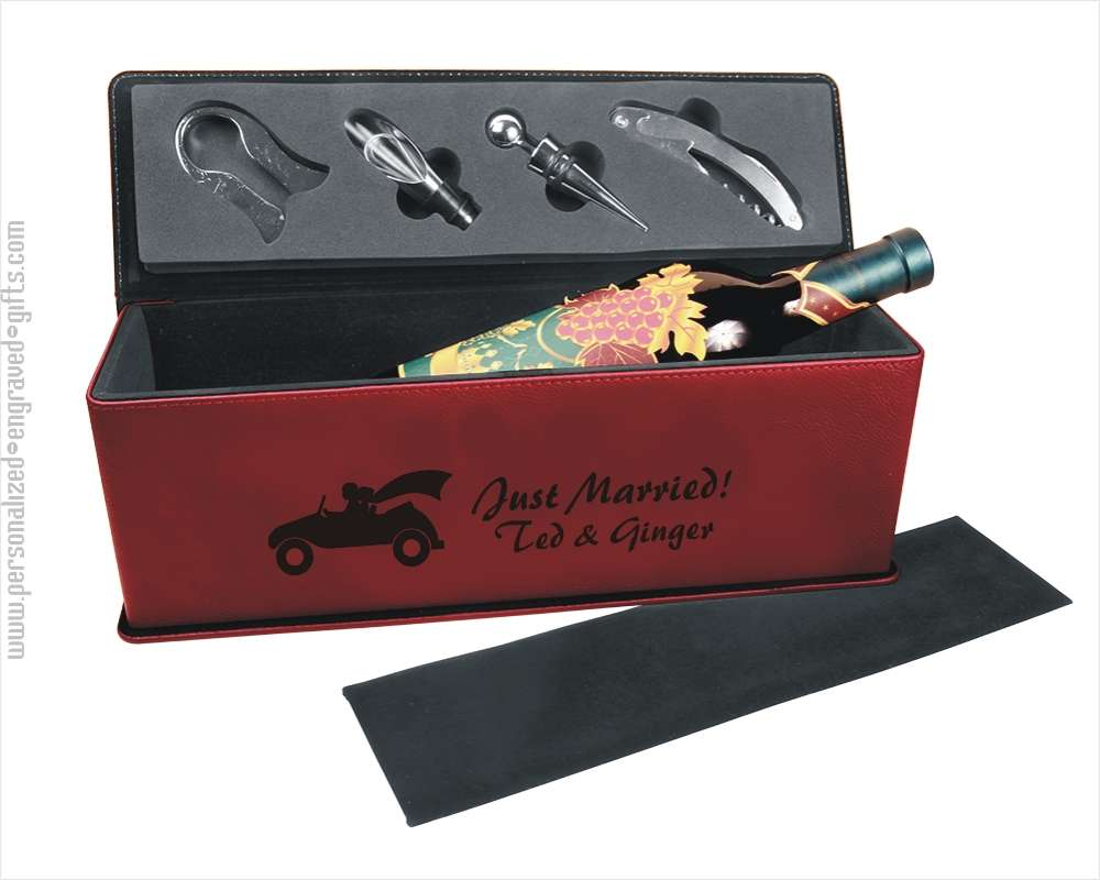 Red Leatherette Wine Gift Box with Wine Tools