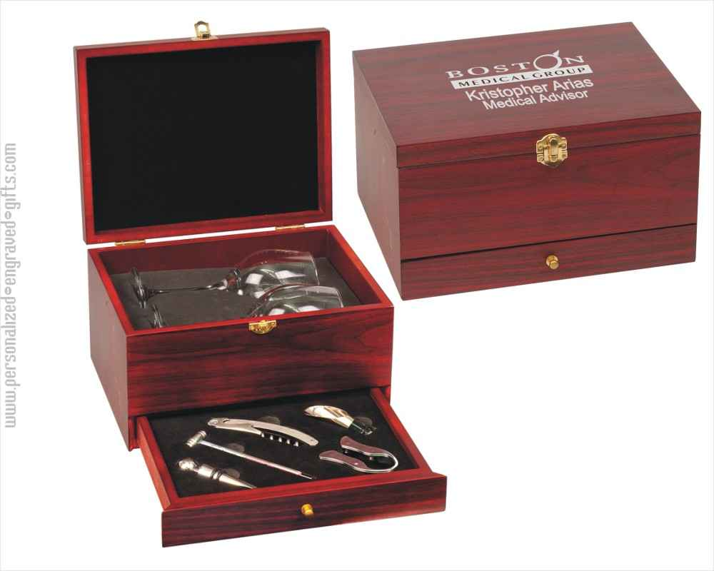 Customized Wine Tool Gift Set with Glasses in Rosewood Box Sandy