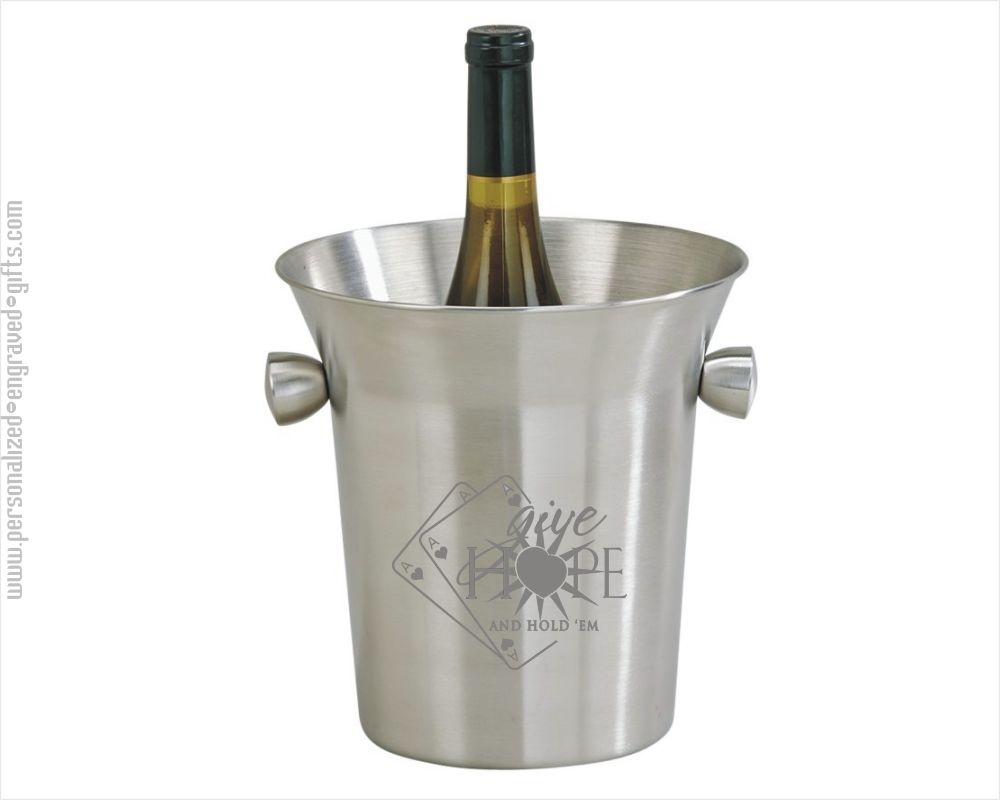 Engraved Satin Finish Ice Bucket with Knobs - Finn