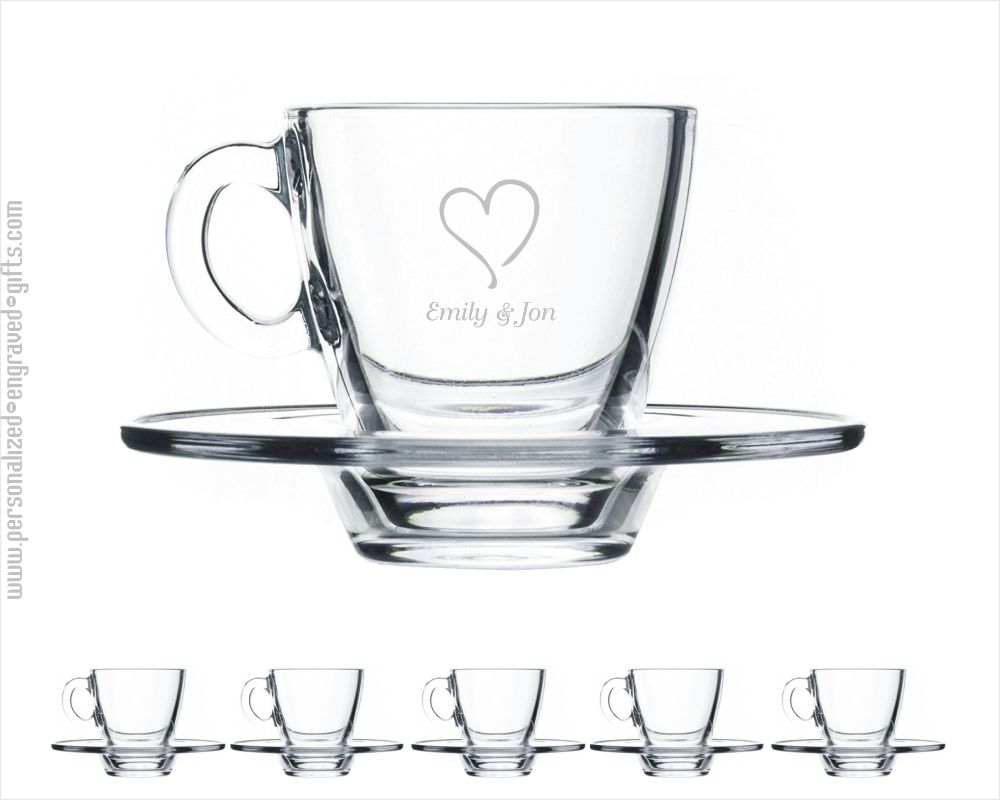 Engraved Set of 6 Glass Espresso Shot Glasses Brooklyn