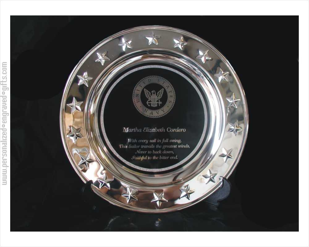 Engraved Silver Plated Presentation Plates with Stars