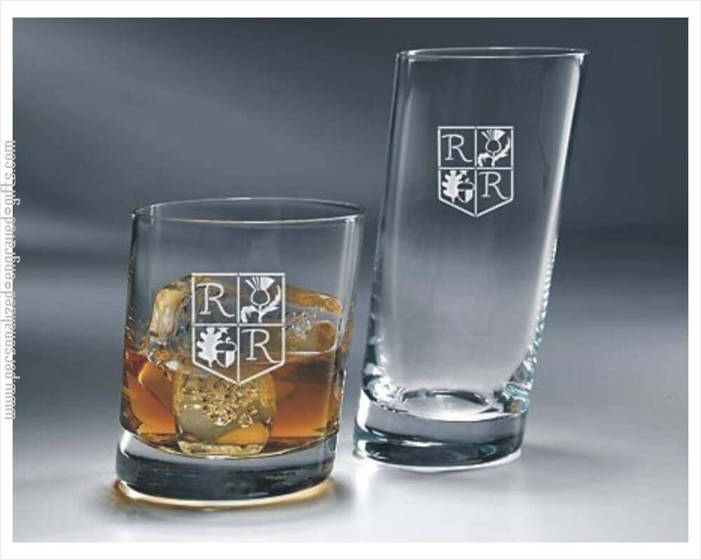 Slanted Engraved Whiskey and HiBall Glasses