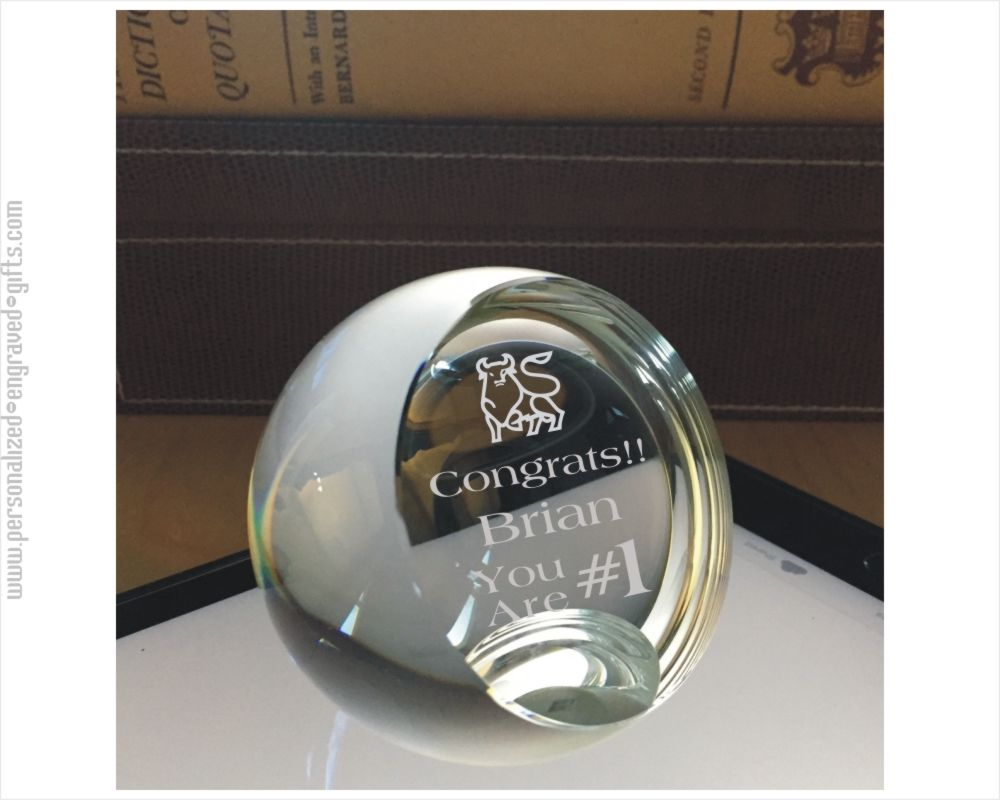 Custom Engraved Sliced Crystal Ball Paperweight - Cal