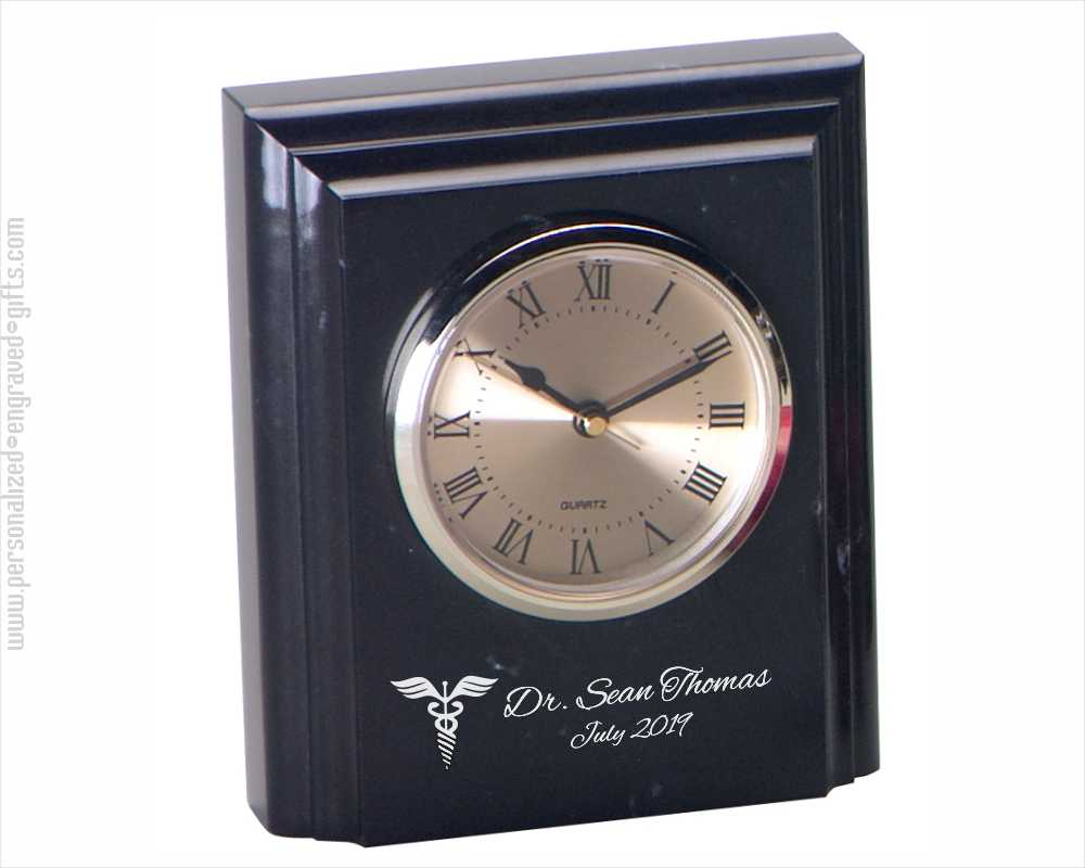 Engraved Square Beveled Marble Clock