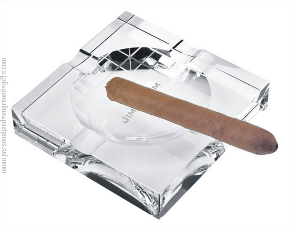 Engraved Square Crystal Ashtray Personalized Corporate Gift-Twain