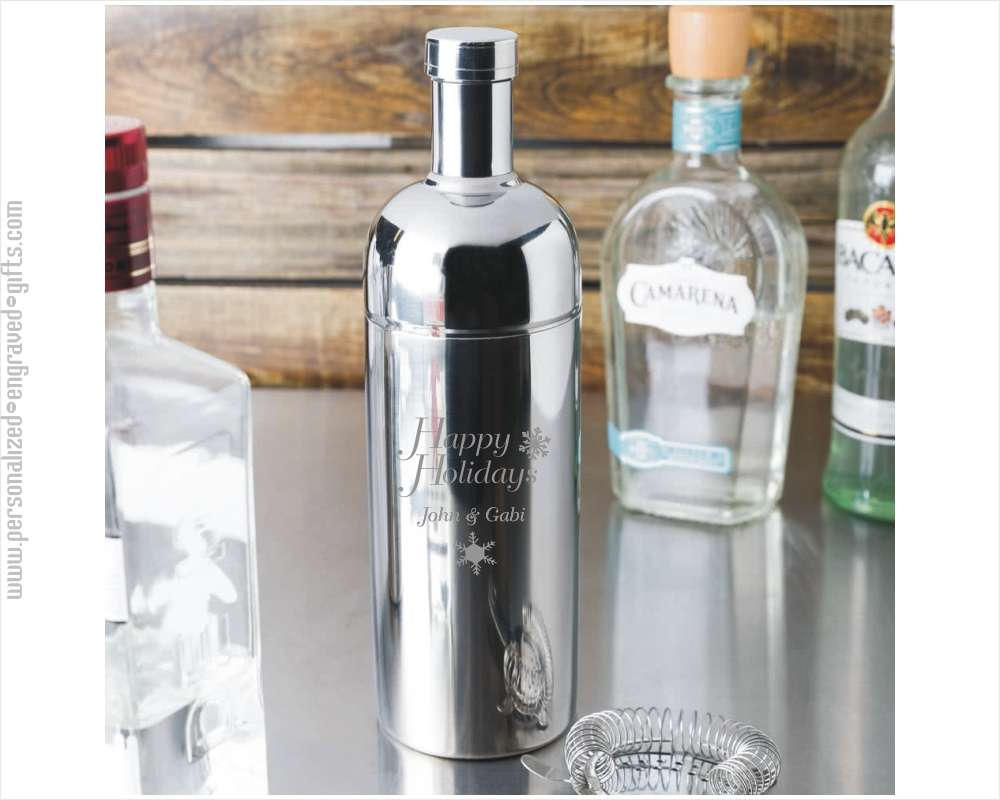 Engraved Stainless Steel Contemporary Cocktail Shakers - Floridian