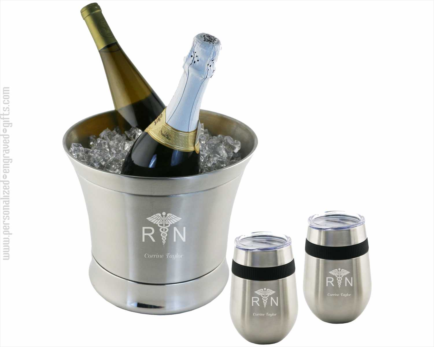 Engraved Stainless Steel Ice Bucket with 2 Stemless Wine Glasses